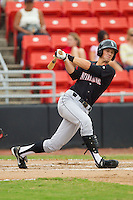 Ryan Hamme #18 of the Kannapolis Intimidators follows through on his swing against the Hickory Crawdads at  L.P. Frans Stadium August 1, 2010, in Hickory, North Carolina.  Photo by Brian Westerholt / Four Seam Images