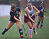 Devon Heaney #9 of Garden City, right, and Daniella Specht #14 of Baldwin battle for possession during a Nassau County Conference I varsity field hockey match at Garden City High School on Friday, Sept. 30, 2016. Garden City won by a score of 7-0.