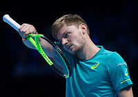 David Goffin of Belgium (7) during his victory over Rafael Nadal of Spain (1) in their Group Pete Sampras Match today - Goffin def Nadal 7-6, 6-7, 6-4<br /> <br /> Photographer Ashley Western/CameraSport<br /> <br /> International Tennis - Nitto ATP World Tour Finals - O2 Arena - London - Day 2  - Monday 13th November 2017<br /> <br /> World Copyright &not;&copy; 2017 CameraSport. All rights reserved. 43 Linden Ave. Countesthorpe. Leicester. England. LE8 5PG - Tel: +44 (0) 116 277 4147 - admin@camerasport.com - www.camerasport.com
