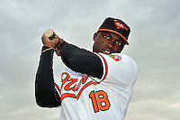 Feb 27, 2010; Tampa, FL, USA; Baltimore Orioles  outfielder Felix Pie (18) during  photoday at Ed Smith Stadium. Mandatory Credit: Tomasso De Rosa
