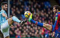 Ilkay Gundogan of Manchester City with Yohan Cabaye of Crystal Palace during the Premier League match between Crystal Palace and Manchester City at Selhurst Park, London, England on 31 December 2017. Photo by Andy Rowland.