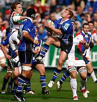 Photo: Richard Lane/Richard Lane Photography. Bath Rugby v Biarritz Olympique. Heineken Cup. 10/10/2010. Bath's Michael Claassens catches a high ball.