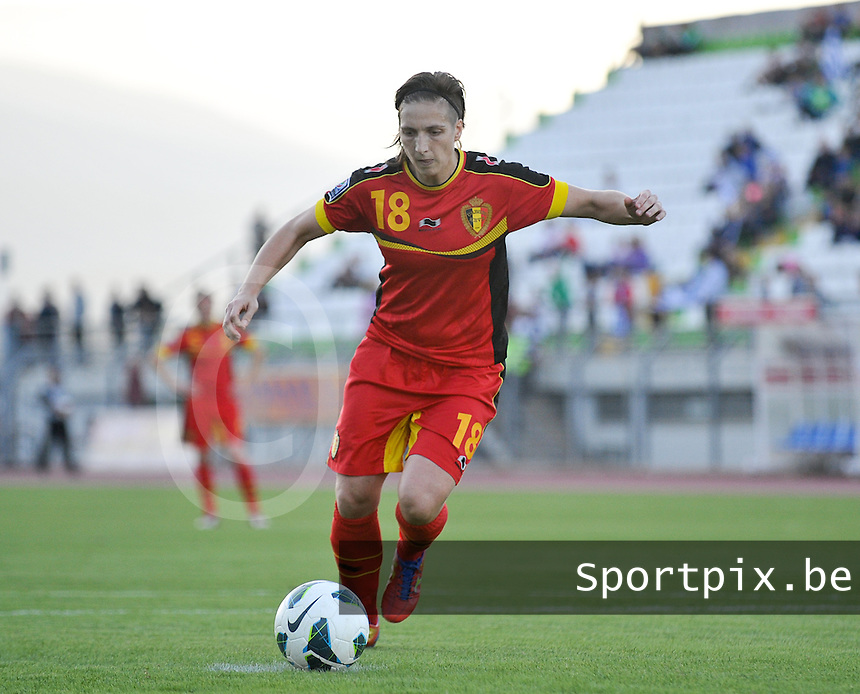 20131026 - LIVADIA , GREECE : Belgian Maud Coutereels pictured taking the penaltyshot for Belgium during the female soccer match between Greece and Belgium , on the third matchday in group 5 of the UEFA qualifying round to the FIFA Women World Cup in Canada 2015 at the Levadia Municipal Stadium , Livadia . Saturday 26th October 2013. PHOTO DAVID CATRY