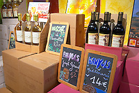 Muscat de Rivesaltes, Banyuls Joseph Geraud, Banyuls Mediterranee. Domaine Pietri-Geraud Roussillon. The wine shop and tasting room. France. Europe. Bottle.