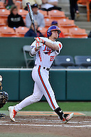 Right fielder Seth Beer (28) of the Clemson University Tigers bats in a game against the Wofford College Terriers on Tuesday, March 1, 2016, at Doug Kingsmore Stadium in Clemson, South Carolina. Clemson won, 7-0. (Tom Priddy/Four Seam Images)