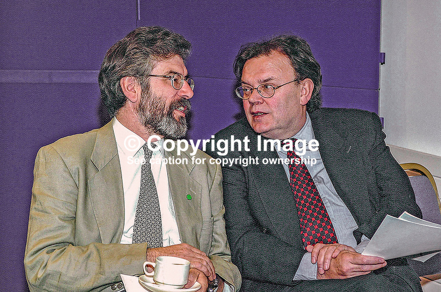 Gerry Adams, president of Sinn Fein (left), with Tom Hartley, a Sinn Fein member of Belfast City Council. Ref: 2001051680..Copyright Image from Victor Patterson, 54 Dorchester Park, Belfast, UK, BT9 6RJ..Tel: +44 28 9066 1296.Mob: +44 7802 353836.Voicemail +44 20 8816 7153.Skype: victorpattersonbelfast.Email: victorpatterson@mac.com.Email: victorpatterson@ireland.com (back-up)..IMPORTANT: If you wish to use this image or any other of my images please go to www.victorpatterson.com and click on the Terms & Conditions. Then contact me by email or phone with the reference number(s) of the image(s) concerned.