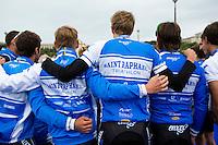 07 JUL 2012 - PARIS, FRA - Saint Raphael Triathlon team members pose for a photograph before the start of the elite men's French Grand Prix round during the 2012 Triathlon de Paris at the Pont de Lena in Paris, France (PHOTO (C) 2012 NIGEL FARROW)