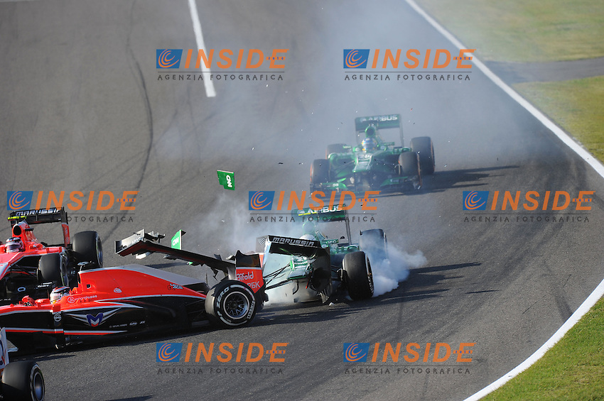 Incidente partenza GIEDO VAN DER GARDE ON CATERHAM RENAULT CT03 AND FRENCH JULES BIANCHI ON MARUSSIA MR02. <br /> Suzuka 13/10/2013 <br /> Formula 1 GP Giappone 2013  <br /> Foto Panoramic / Insidefoto