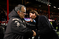 11th February 2020; Griffin Park, London, England; English Championship Football, Brentford FC versus Leeds United; Brentford Manager Thomas Frank greets Leeds United Manager Marcelo Bielsa from the touchline before kick off