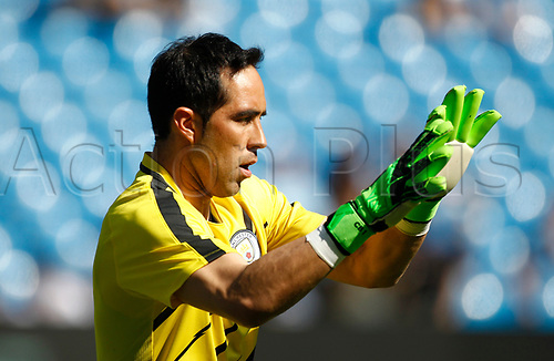 April 8th 2017, Etihad Stadium, Manchester, Lancashire, England; EPL Premier league football, Manchester City versus Hull City; Manchester City keeper Claudio Bravo warms up before the game