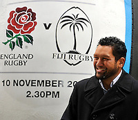 London, England. Nicky Little of Fiji Rugby legends pose for a photograph following a press conference to announce the England rugby squad for the QBE Internationals on October 25, 2012 in London, England.