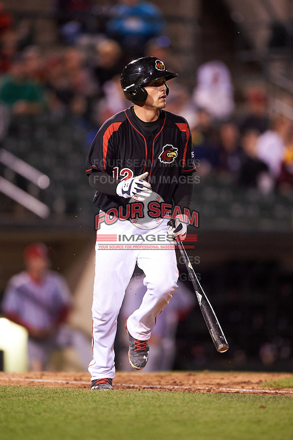 Rochester Red Wings catcher John Ryan Murphy (12) at bat during a game against the Syracuse Chiefs on July 1, 2016 at Frontier Field in Rochester, New York.  Rochester defeated Syracuse 5-3.  (Mike Janes/Four Seam Images)