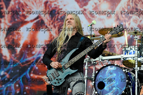 NIGHTWISH - bassist Marco Hietala - performing live on Day Three on the Lemmy Stage at the Download Festival at Donington Park UK - 12 Jun 2016.  Photo credit: ZAine Lews/IconicPIxi