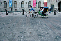 A bicitaxi is usually the best form of transportation in the city center. Mexico City 3-9-04
