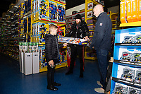 Pictured: Oli McBurnie of Swansea City buying children gifts at Smyth's Toy Store, in Swansea, Wales, UK. Wednesday 19 December 2018