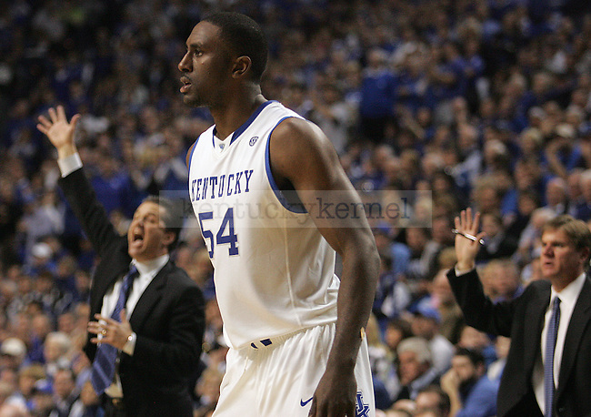 Patrick Patterson looks to his teammates in the second half of UK's win over Florida at Rupp Arena on Sunday, March 7, 2010. Photo by Britney McIntosh | Staff