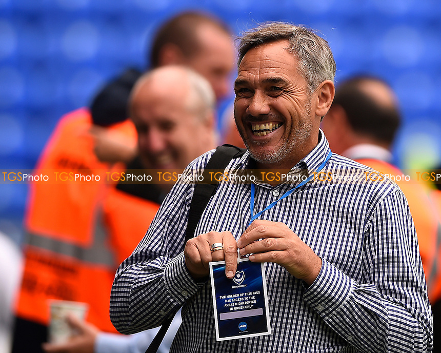 Former Portsmouth Manager Guy Whittingham shares a joke during Portsmouth vs Crawley Town, Sky Bet EFL League 2 Football at Fratton Park on 3rd September 2016