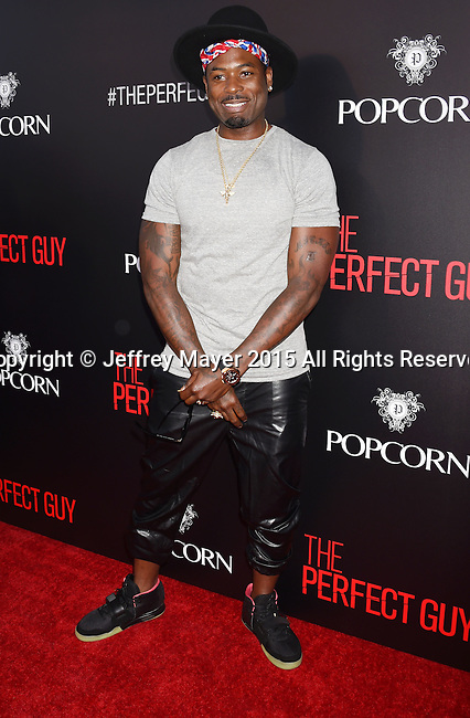 """BEVERLY HILLS, CA - SEPTEMBER 02:  Mickey """"MeMpHiTz"""" Wright Jr. arrives at the premiere of Screen Gems' 'The Perfect Guy' at The WGA Theater on September 2, 2015 in Beverly Hills, California."""
