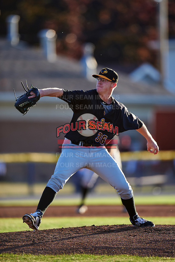 West Virginia Black Bears starting pitcher Cam Vieaux (36) during a game against the Batavia Muckdogs on June 30, 2016 at Dwyer Stadium in Batavia, New York.  Batavia defeated West Virginia 4-3.  (Mike Janes/Four Seam Images)
