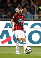 Calcio, Serie A: Inter Milano - AC Milan , Giuseppe Meazza stadium, .October 21, 2018. <br /> Milan's captain Alessio Romagnoli in action during the Italian Serie A football match between Inter and Milan at Giuseppe Meazza (San Siro) stadium, October 21, 2018.<br /> UPDATE IMAGES PRESS/Isabella Bonotto