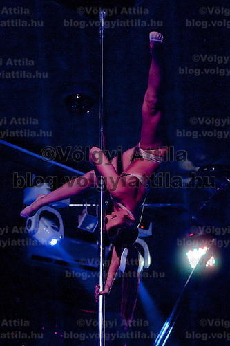 Eva Molnar performs during the Miss Poledance Hungary 2011 competition in Budapest, Hungary on September 03, 2011. ATTILA VOLGYI