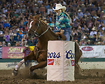 Action from the Barrel Racing event during the Reno Rodeo in Reno, Nevada on Saturday, June 23, 2018
