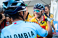 Picture by Alex Whitehead/SWpix.com - 30/09/2018 - Cycling - UCI 2018 Road World Championships - Innsbruck-Tirol, Austria - Elite Men's Road Race - Alejandro Valverde of Spain is congratulated by Nairo Quintana of Colombia after winning gold.