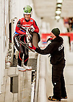 5 December 2015: Eliza Cauce, competing for Latvia, takes the sled off the track after completing her second run of the Viessmann World Cup Women's Luge, with a combined 2-run time of 1:28.486 and a 6th place result at the Olympic Sports Track in Lake Placid, New York, USA. Mandatory Credit: Ed Wolfstein Photo *** RAW (NEF) Image File Available ***