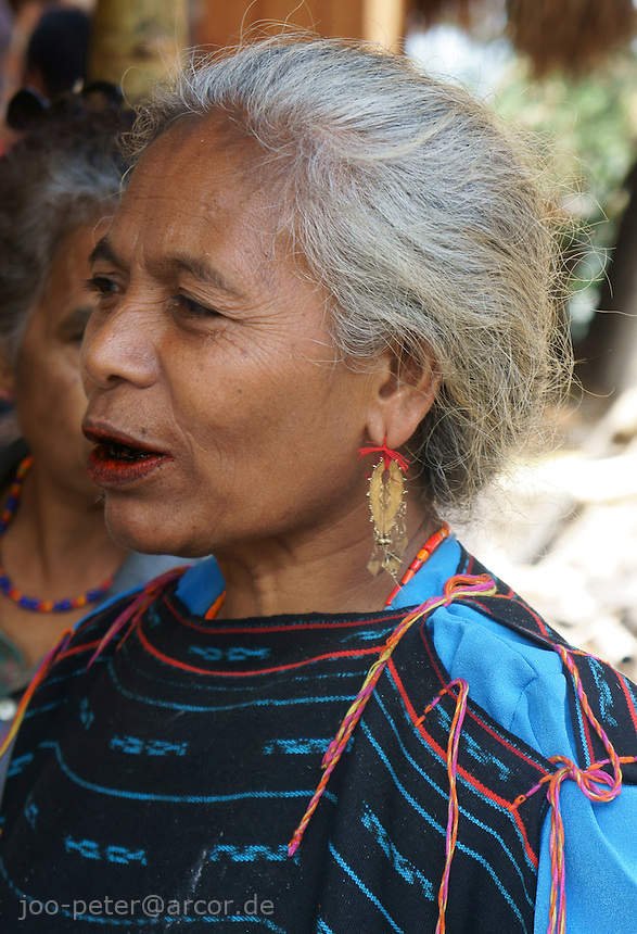 proud elder woman with golden earrings, chewing betelnut,  head of the matriarchal clan, watching celebrations for her new-built house, center of her clan, village Bena, Ngada people, Flores, Indonesia