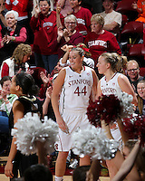 STANFORD, CA - January 27, 2013: Stanford Cardinal's Joslyn Tinkle and Mikaela Ruef during Stanford's 69-56 victory over the Colorado Buffaloes at Maples Pavilion in Stanford, California.