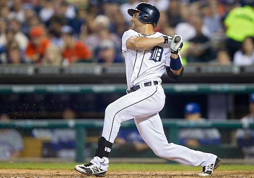 August 21, 2012:  Detroit Tigers second baseman Omar Infante (4) at bat during MLB game action between the Toronto Blue Jays and the Detroit Tigers at Comerica Park in Detroit, Michigan.  The Tigers defeated the Blue Jays 5-3.