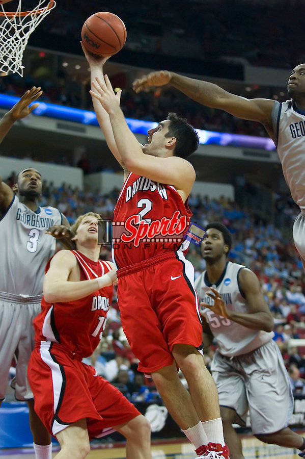 Jason Richards (2) of the #10 seed Davidson Wildcats drives to the basket versus the #2 seed Georgetown Hoyas in second round action of the 2008 NCAA Men's Basketball Championship at the RBC Center in Raleigh, NC, Sunday, March 23, 2008.