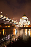 RUSSIA, Moscow. Night view of the Patriarshiy Bridge and the Cathedral of Christ the Saviour by the Moscow River.