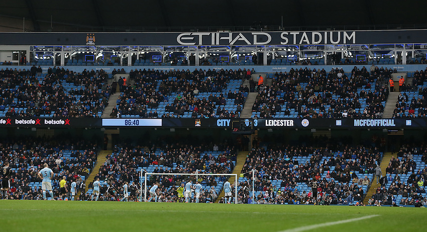 Lots of empty seats at the Ethiad Stadium as Leicester lead 3-0 with only a few minutes left to play<br /> <br /> Photographer Stephen White/CameraSport<br /> <br /> Football - Barclays Premiership - Manchester City v Leicester City - Saturday 6th February 2016 -  Etihad Stadium - Manchester<br /> <br /> &copy; CameraSport - 43 Linden Ave. Countesthorpe. Leicester. England. LE8 5PG - Tel: +44 (0) 116 277 4147 - admin@camerasport.com - www.camerasport.com