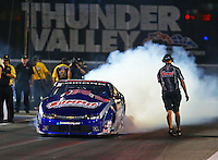 Jun 17, 2016; Bristol, TN, USA; NHRA pro stock driver Jason Line during qualifying for the Thunder Valley Nationals at Bristol Dragway. Mandatory Credit: Mark J. Rebilas-USA TODAY Sports