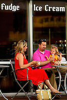 People enjoying an evening in Ballantyne, a suburb of Charlotte NC, is located near the South Carolina border. The 2,000-acre mixed-use development was created by land developer Howard C. Smokey Bissell.