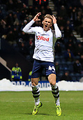 1st February 2019, Deepdale, Preston, England; EFL Championship football, Preston North End versus Derby County; Brad Potts of Preston North End reacts after missing a chance to score
