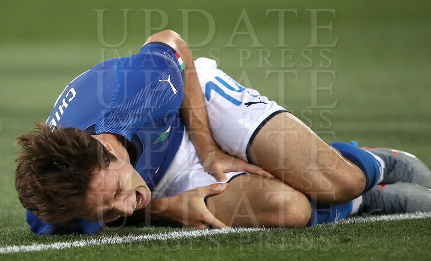 Football: Uefa under 21 Championship 2019, Italy -Poland, Renato Dall'Ara stadium Bologna Italy on June19, 2019.<br /> Italy's Federico Chiesa reacts during the Uefa under 21 Championship 2019 football match between Italy and Poland at Renato Dall'Ara stadium in Bologna, Italy on June19, 2019.<br /> UPDATE IMAGES PRESS/Isabella Bonotto