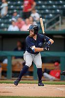 Mobile BayBears Brandon Marsh (9) at bat during a Southern League game against the Jacksonville Jumbo Shrimp on May 28, 2019 at Baseball Grounds of Jacksonville in Jacksonville, Florida.  Mobile defeated Jacksonville 2-1.  (Mike Janes/Four Seam Images)