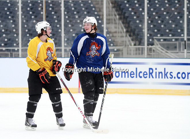 The Omaha Lancers of the USHL practice on the outdoor surface at TD Ameritrade Park in Omaha, Neb., Thursday, Feb. 7, 2013. (Photo by Michelle Bishop)