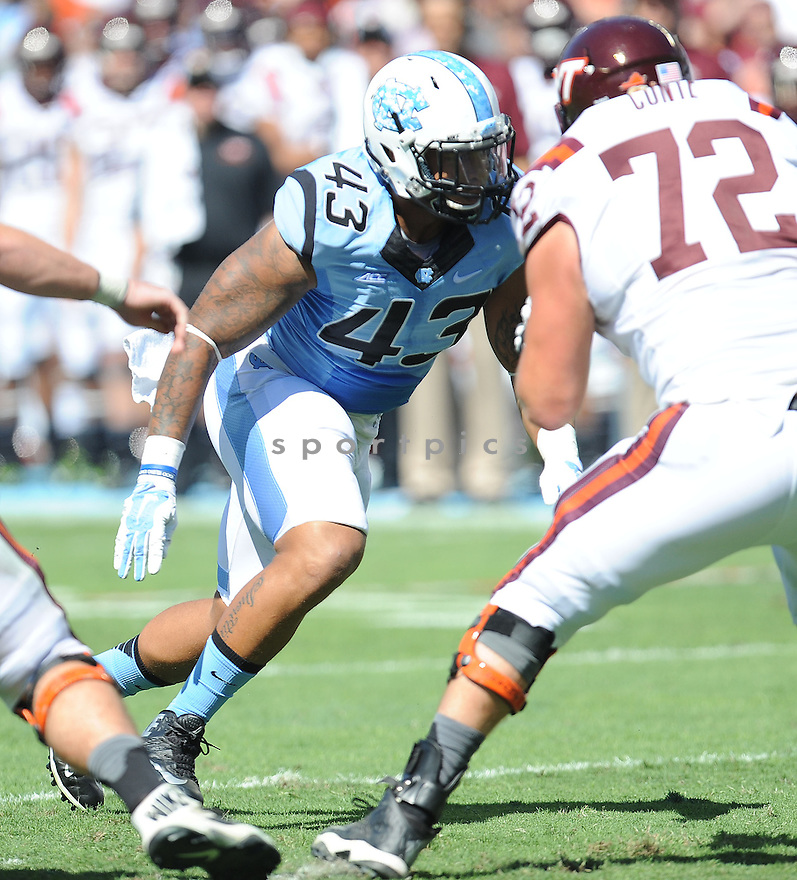 North Carolina Tar Heels Jessie Rogers (43) during a game against the Virginia Tech Hokies on October 4, 2014 at Kenan Stadium in Chapel Hill, NC. Virginia Tech beat North Carolina 34-17.