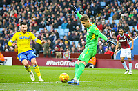 Aston Villa's Orjan Nyland clears under pressure from Leeds United's Jack Harrison<br /> <br /> Photographer Alex Dodd/CameraSport<br /> <br /> The EFL Sky Bet Championship - Aston Villa v Leeds United - Sunday 23rd December 2018 - Villa Park - Birmingham<br /> <br /> World Copyright &copy; 2018 CameraSport. All rights reserved. 43 Linden Ave. Countesthorpe. Leicester. England. LE8 5PG - Tel: +44 (0) 116 277 4147 - admin@camerasport.com - www.camerasport.com