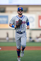 St. Lucie Mets Quinn Brodey (1) jogs to the dugout during a Florida State League game against the Lakeland Flying Tigers on April 24, 2019 at Publix Field at Joker Marchant Stadium in Lakeland, Florida.  Lakeland defeated St. Lucie 10-4.  (Mike Janes/Four Seam Images)