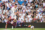 Cristiano Ronaldo of Real Madrid fights for the ball with M M Dos Santos of SD Eibar during their La Liga match between Real Madrid CF and SD Eibar at the Santiago Bernabéu Stadium on 02 October 2016 in Madrid, Spain. Photo by Diego Gonzalez Souto / Power Sport Images