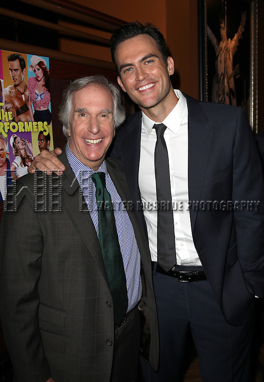 "Actor Henry Winkler and actor Cheyenne Jackson attends press event to introduce the cast and creators of the new Broadway play ""The Performers""at the Hard Rock Cafe on Tuesday, Sept. 25, 2012 in New York. (Photo by © Walter McBride/WM Photography//AP)"