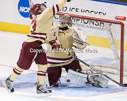 Patch Alber (BC - 3), Parker Milner (BC - 35) - The Boston College Eagles defeated the University of Minnesota Duluth Bulldogs 4-0 to win the NCAA Northeast Regional on Sunday, March 25, 2012, at the DCU Center in Worcester, Massachusetts.