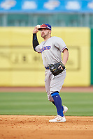 Midland RockHounds second baseman J.P. Sportman (25) throws to first base during a game against the Northwest Arkansas Naturals on May 27, 2017 at Arvest Ballpark in Springdale, Arkansas.  NW Arkansas defeated Midland 3-2.  (Mike Janes/Four Seam Images)