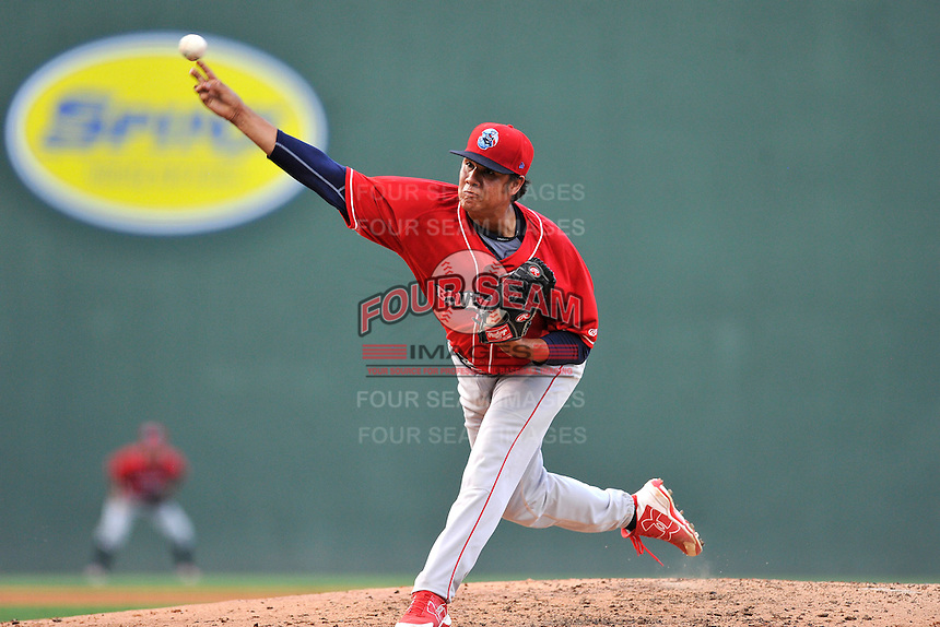 Starting pitcher Harold Arauz (44) of the Lakewood BlueClaws delivers a pitch in a game against the Greenville Drive on Thursday, June 23, 2016, at Fluor Field at the West End in Greenville, South Carolina. Lakewood won, 8-7. (Tom Priddy/Four Seam Images)