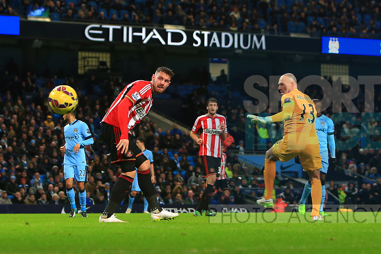 Connor Wickham of Sunderland gets past Willy Caballero of Manchester City but is ruled offside - Manchester City vs. Sunderland - Barclay's Premier League - Etihad Stadium - Manchester - 28/12/2014 Pic Philip Oldham/Sportimage
