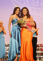 12 July, 2008:   Miss Whatcom County Zandra Dennis poses with 2007 Miss Washington winner Elsye Umemoto after winning the Miss Congeniality award during the 2008 Miss Washington pageant at the Pantages Theater in Tacoma , Washington.